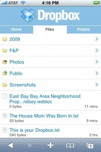 Dropbox has a great interface for viewing your synched files using your iPhone
